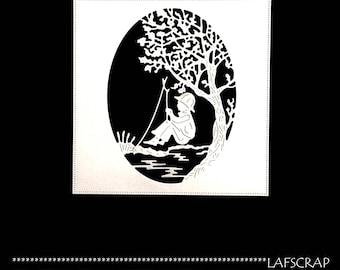 1 cut scrapbooking scrap frame tree River forest child boy fishing cutout paper die cut embellishment creation