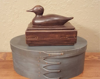 Vintage mallard duck ceramic box.  Handpainted to look like wood.  Masculine duck trinket box.  Office decor