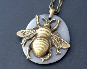 Unique Gift Boho Necklace Bee Necklace Bee Charm Necklace Simple Necklace Everyday Necklace Insect Necklace Bee Jewelry Brass Necklace