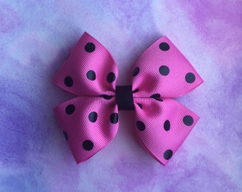 Pink With Black Polka Dots Hair Bow