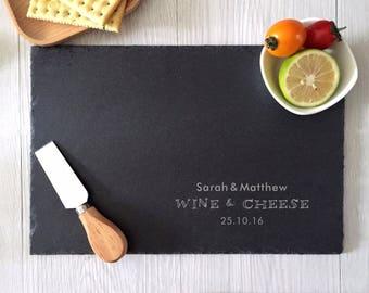 custom slate cheese board, personalized cutting boards, slate cheese platter, wine and cheese, laser engraved stone , housewarming gifts