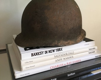 WWII Helmet - Wold War 2 Helmet - Industrial Home Decor or Add to a shelf in an office - Great Historical Piece