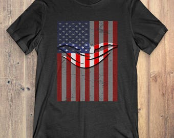 Swimming T-Shirt Gift: American Flag