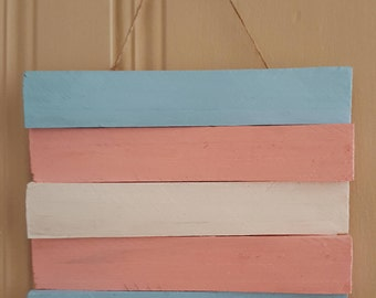 Wooden Transgender Flag Plaque