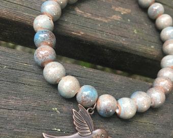 Vintage Warm Toned Bracelet//Bird Charm//Simple