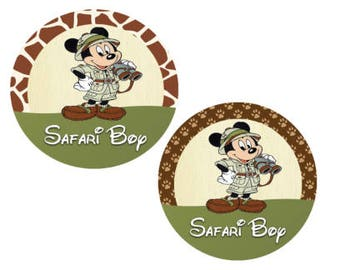 Safari Boy Giraffe or Paw Print Button - Animal Kingdom Button - Safari Mickey Button - Theme Park Button - Safari Birthday Button - Jungle