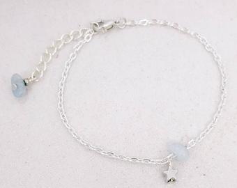 Star bracelet - Aquamarine - silver