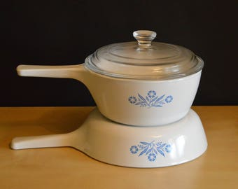 Vintage Set Corning Ware P-82-B Menuette Pan 1 1/2 Pint with P81C Pyrex Lid, P-33-B Skillet, USA, For Range and Microwave, Blue Flowers