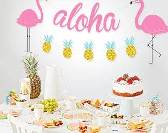 INSTANT DOWNLOAD - Tropical Flamingo Aloha Garland