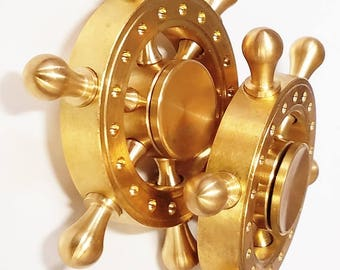 FREE 2 Day Shipping - Solid Brass Ships Helms Wheel Fidget Spinner Made in Daytona Beach by CAPT KENNY 6 Minute Spin Time Perfectly Balanced