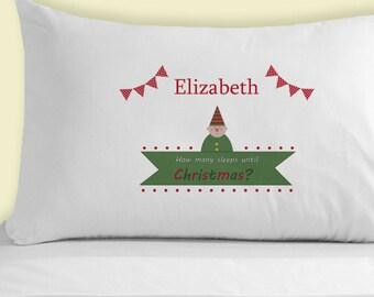 Personalised Elf Countdown Pillowcase - Countdown Until Christmas Xmas Countdown Cute Pillowcases Elf & Christmas pillowcase | Etsy pillowsntoast.com