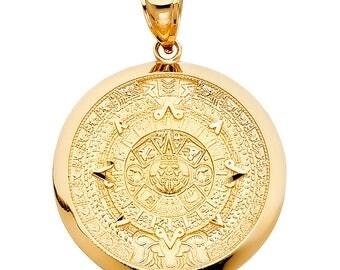 Aztec pendant etsy 14k solid yellow gold aztec mayan calendar medallion pendant aloadofball Image collections
