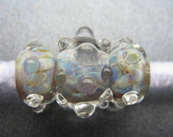 BORO Lampwork Bumpy Beads Set, Set of Three, Mint Green, Lilac, Violet, Sapphire Blue, Aqua Blue, Periwinkle Blue, Yellow, Opals - HGD1374