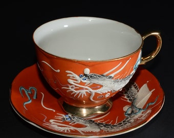 Wonderful Orange Japanese Dragon Tea Cup and Saucer Set, Hand Painted w/Gold Accents, excellent condition, A-925, made in Japan, dragonware
