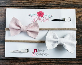 Baby Bow Set, Baby Headband Set, Pink and White Leather Bow Set, Breakaway Bow Set