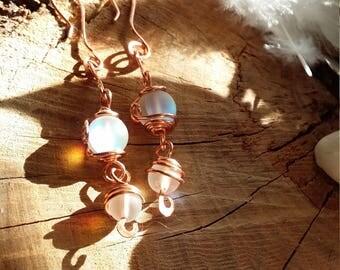 Unique - Boucles d'oreilles en quartz holographique aura ou quartz de l'aura mystique