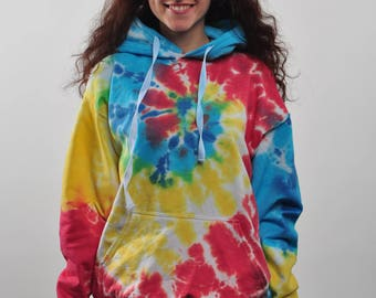 Blue Yellow Red Unisex Tie Dye Hoodie / Rainbow Hippie Hoodie / Cotton / Clothing Gift for Her / Valentines Gift for Him