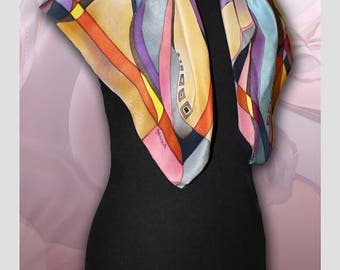 Silk scarf Horses, Handmade silk scarf, Scarves for women, Colourful Handpainted scarf, Silk Wrap, Rare Unique Gift