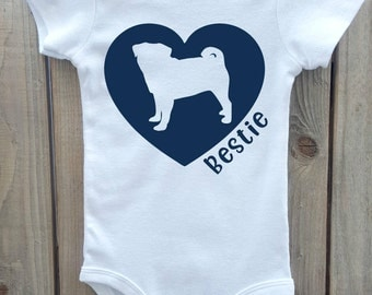 Pug Baby Bodysuit, Pug Love, Pug Best Friend, Pug Shirt, Dog Breed Shirt, Dog Lover Gift, Dog Breed Gift, Dog Breed Bodysuit, Pug baby cloth