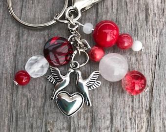 Keychains for Women, Lovebird Keychain, Bag Charm, Purse Charm for Handbags, Lovebird Gift, Keyrings for Her, Keyring, Beaded Keychain, Gift