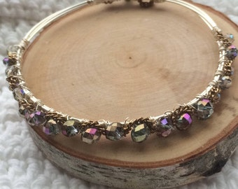 Silver Bangle--Purple Crystals and Copper Chain