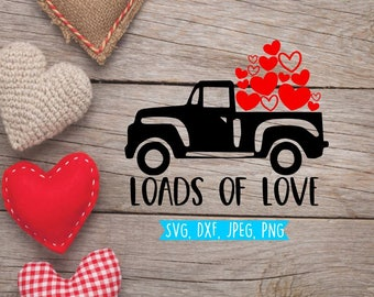 Valentine Svg, Valentine's Svg, Boy's Valentine Svg, Truck with falling hearts, Truck Svg, Heart Svg, Svg files, DXF, Silhouette, Cricut
