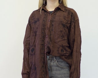 VINTAGE Brown Patterned Button Downs Retro Shirt