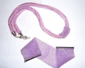 Light purple bracelet and necklace set