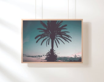 Palm Trees Printable, Palm Trees Art Print, Tropical Wall Art, Sunset Palm Tree Photography, Sunset Nature Art Print, Large Pastel Art Print