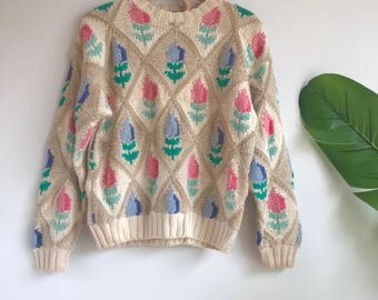 Vintage Deadstock Tulip Orvis Pullover Sweater Size Small Tulips