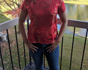 Vintage Red Asian Blouse - Mandarin Collar Top - Short Sleeve Blouse