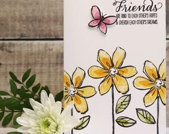 """Friends/Friendship Card with Hand Stamped Flowers in Yellow, and a Hand Stamped and Cut Butterfly in Pink, size A6 (4x6"""")"""