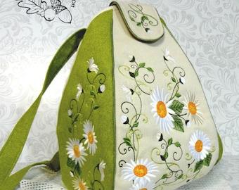 Textile Backpack Embroidered Shoulder Bags Multifunctional Travel Backpack Bag for Girls School Backpack Women's Backpacks Flowers chamomile