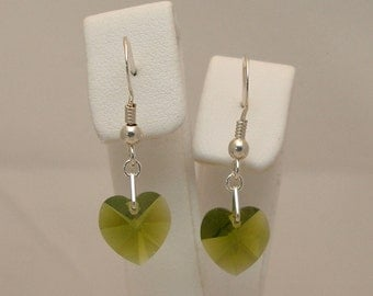 10mm Olivine (Olive Green) Swarovski Crystal Heart Drop Earrings