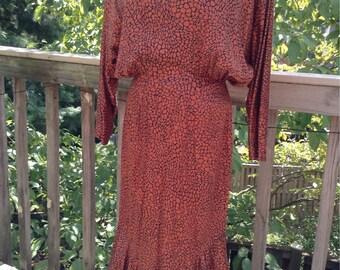 Nicole Miller Copper Mosaic Pattern 30s Style Dress