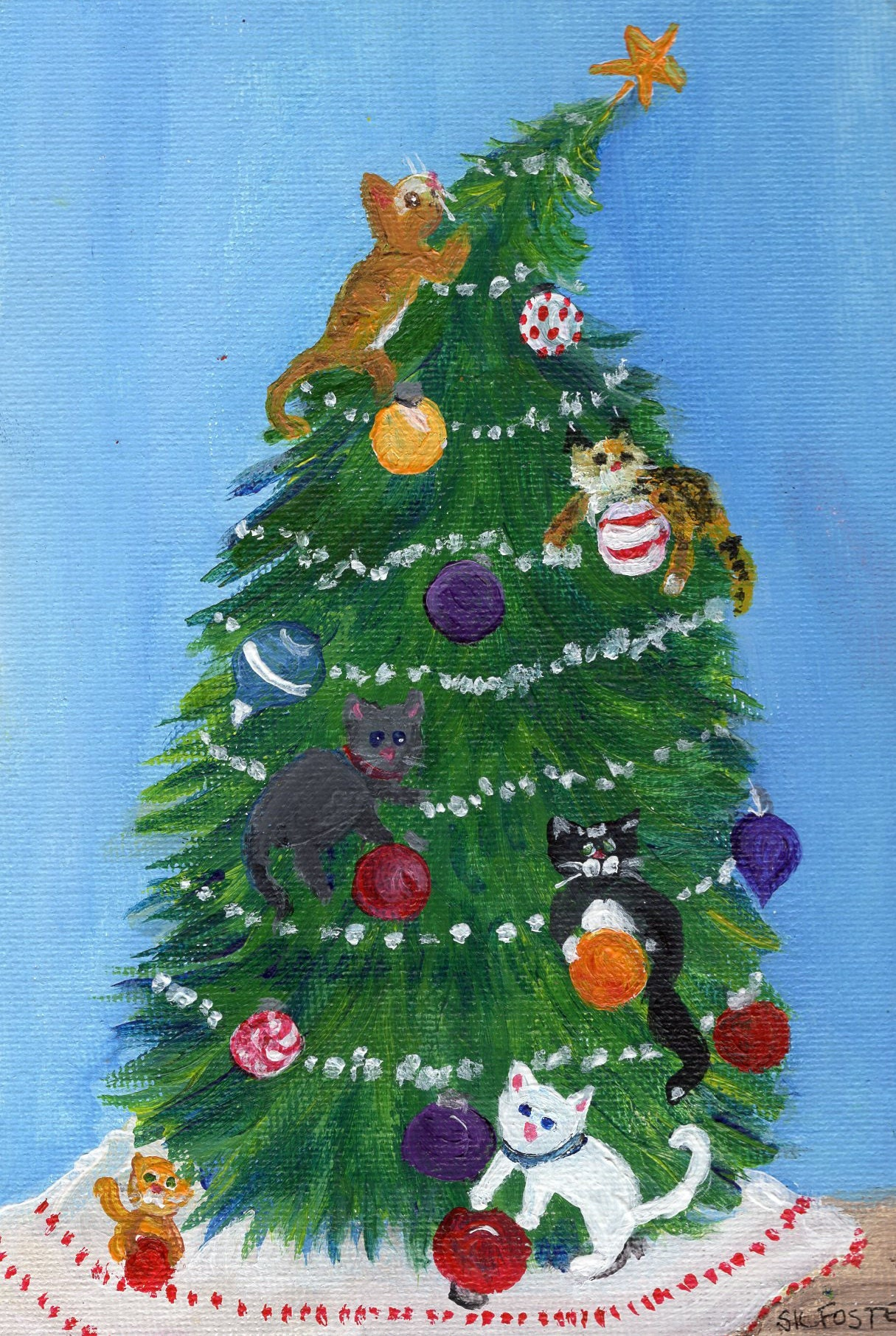 Christmas cats painting in tree on