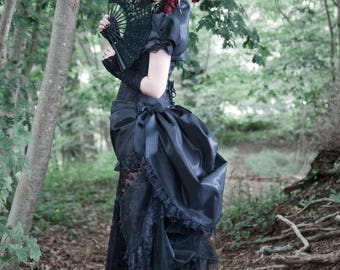 Black Wedding Dress | Nevermore | Victorian Masquerade, Steampunk Cosplay, Gothic Prom Dress, Tea Party Gown, Womens Corset Dress