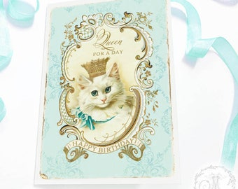 Cat birthday card, Queen for a day, Cat lovers card, in blue and gold