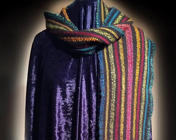 Fashion Scarf, Artisan Handwoven Mens Womens Fashion Accessory Scarf, Gift,Birthday Gift, Mens Scarf, Ladies scarf, Rainbow Scarf