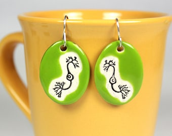 Neuron Ceramic Earrings in Lime Green