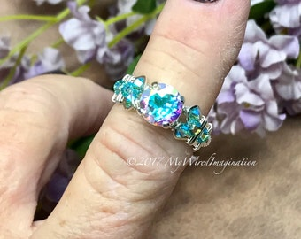 Round Opalescent Topaz, Mercury Mystic Topaz, Hand Crafted Wire Wrapped Ring, NEW Variations Available, April Birthstone, Unique Engagement