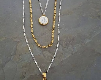 Three Layer Necklace, St Benedict Pendant, White Grey Druzy Pendant, Long Pendant Necklace, Multi Layer Necklace, Triple Strand, Gold Silver