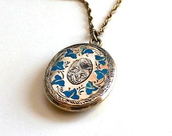 Antique Victorian Blue Enamel Ivy Leaf Gold Filled Pendant Locket Necklace - Antique Photo Under Glass