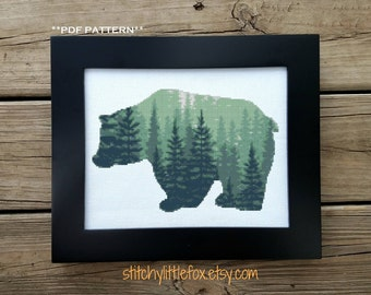 Bear Silhouette Cross Stitch Chart, Modern Counted Stitch Pattern, Forest, Tree Crossstitch, Cross Stitch PDF, Instant Download, Woodland