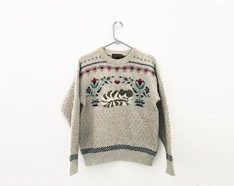 vintage 90s Eddie Bauer Kitty Cat & Hearts Cat Lover Wool Pull Over Sweatshirt M
