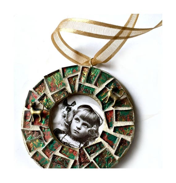 Mosaic Cat Frame Ornament, Green Gold Mosaic Frame Ornament, Mosaic Frame Ornament, Mosaic Photo Frame Ornament, Mosaic Frame, Hanging Frame