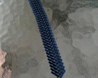 Denim blue braided bead bracelet