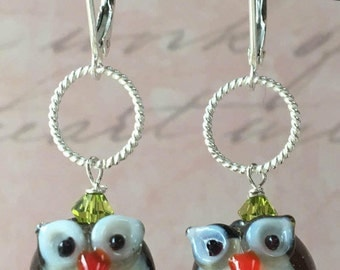 Cute Glass Owl Earrings with Swarovski Crystal and Sterling Lever Backs Fun Gift for Bird Lover