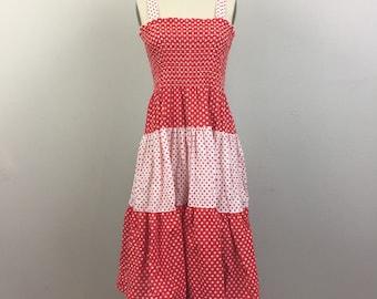 80s Red and White Polkadot Smocked Sundress M-L