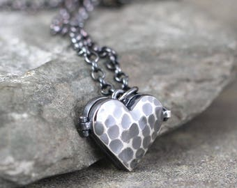Rustic Heart Shape Locket Pendant - Sterling Silver - Hammered Texture - Oxidized Patina - Keepsake Pendant
